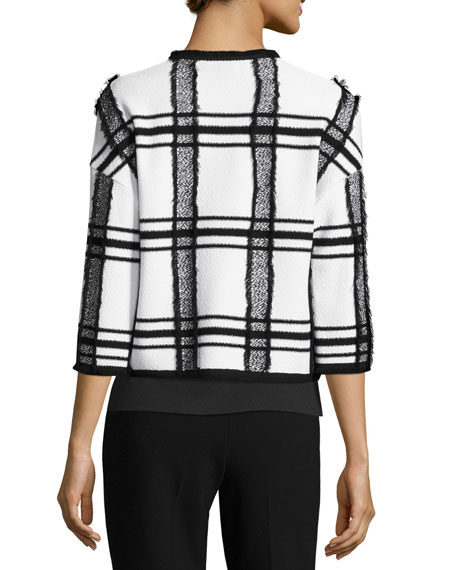 Fil Coupe Plaid Jacket W/ Fringe Trim