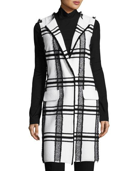 Fil Coupe Plaid Jacquard Knit Long Vest