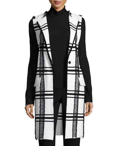 Fil Coupe Plaid Jacquard Knit Long Vest
