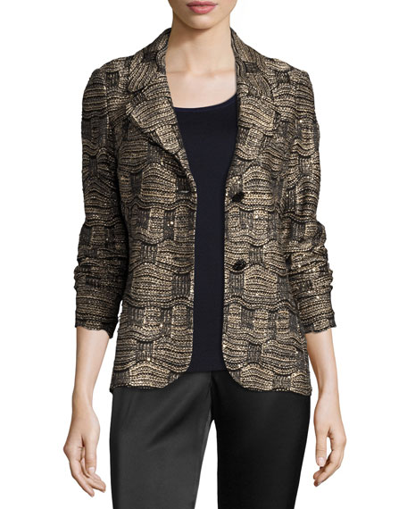 St. John Collection Gilded Geo Tweed Knit Jacket