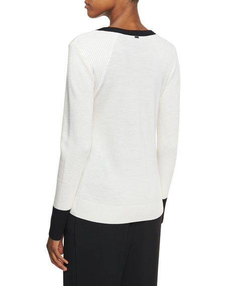 Ottoman Transfer Rib-Knit Colorblock Sweater