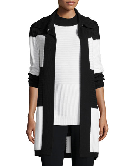 St. John Collection Intarsia Rib-Stitched Colorblock Cardigan
