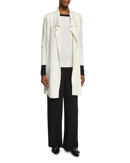 Rib-Knit Vest W/ Fur Collar