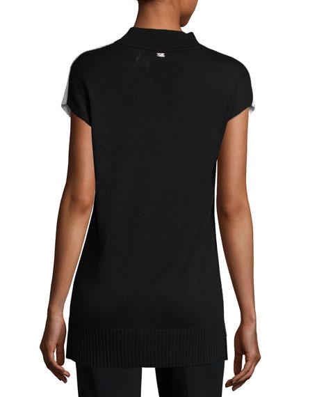 Ottoman Mock-Neck Sweater, White/Black
