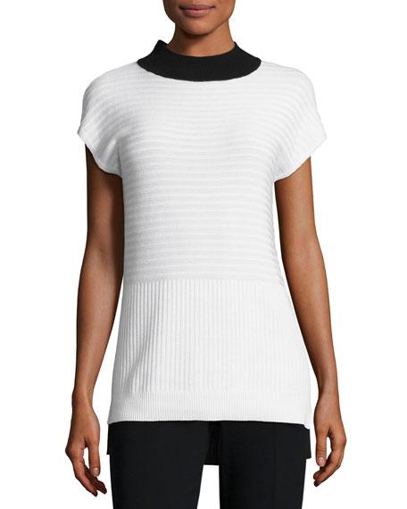 St. John Collection Ottoman Mock-Neck Sweater, White/Black