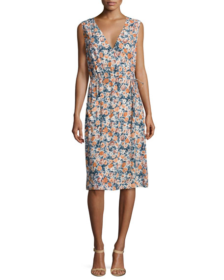Current/Elliott The Sleeveless Floral-Print Wrap Dress, Multi
