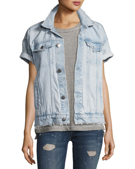 Current/Elliott The Rolled Sleeve Trucker Jacket, Indigo
