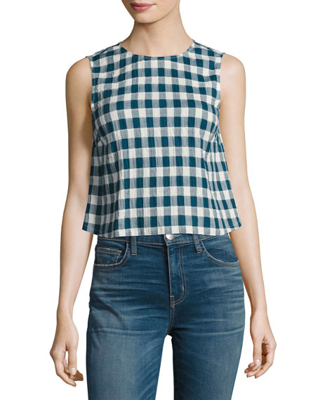Current/Elliott The Boxy Cropped Checkered Tank, Indigo