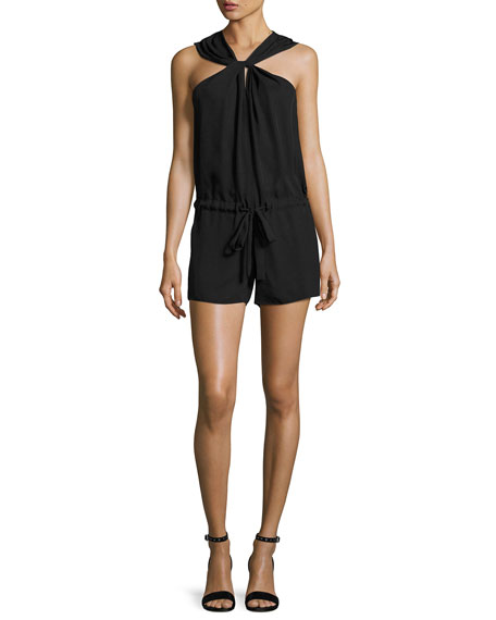 Roscoe Halter-Neck Sleeveless Romper, Black