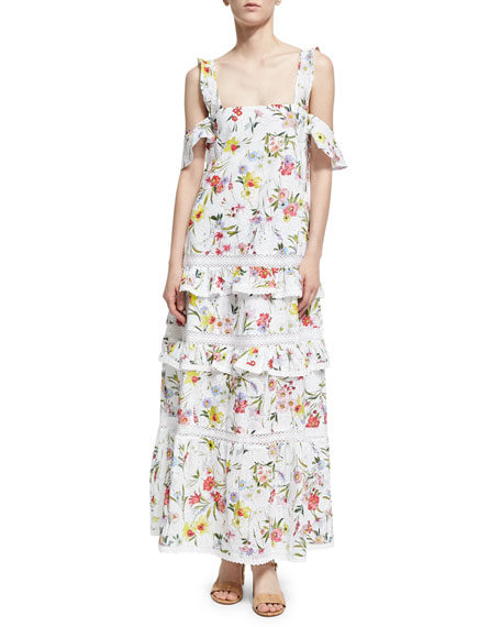 n/nicholas Daffodil Broderie Tiered Maxi Dress, White Pattern