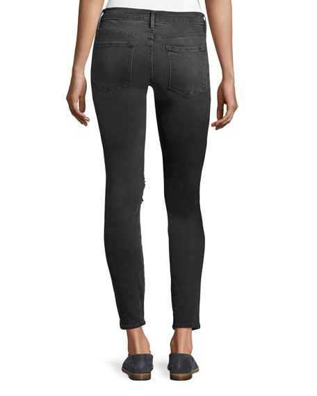 Le Skinny De Jeanne Distressed Jeans, Black