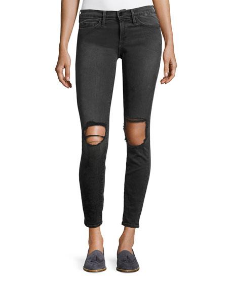 FRAME Le Skinny De Jeanne Distressed Jeans, Black