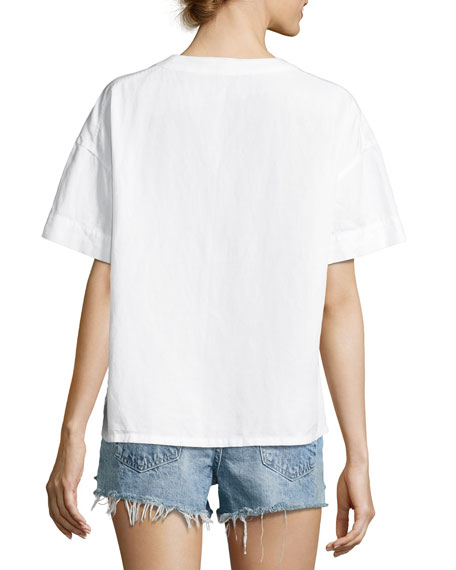 Kelly Short Sleeve Lace-Up Top, White