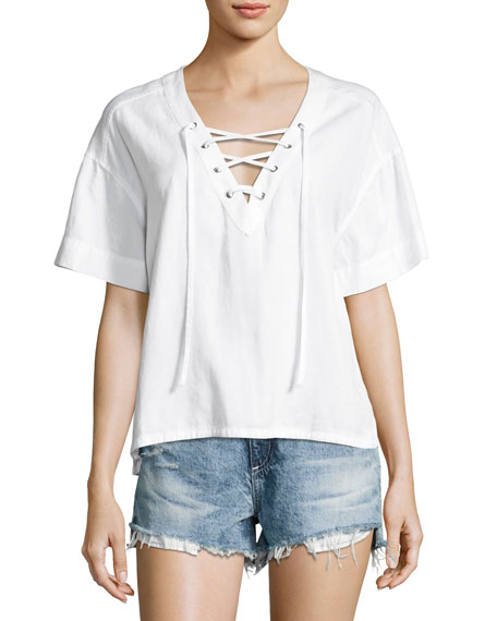 AG Kelly Short Sleeve Lace-Up Top, White