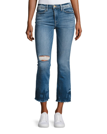 FRAME Le High-Rise Straight Raw-Edge Faded Jeans, Blue