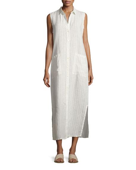 FRAME Boyfriend Striped Linen Long Shirtdress, White/Black