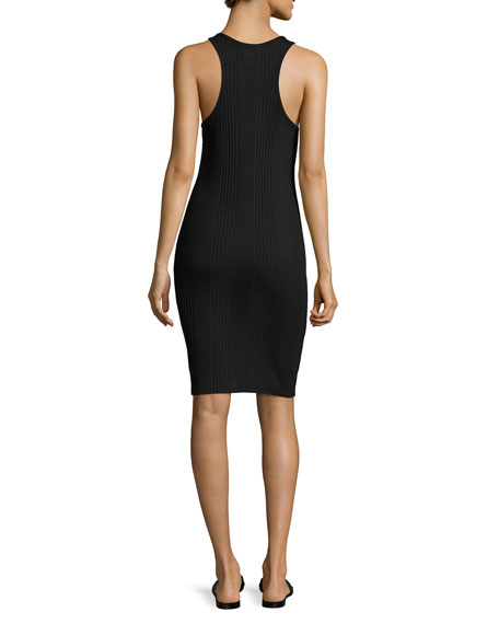 FRAME Variegated Ribbed Tank Dress, Black