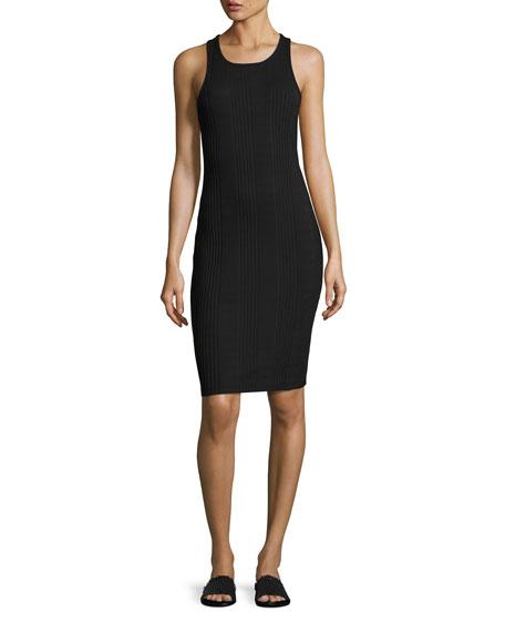 FRAME Variegated Ribbed Tank Dress, Black