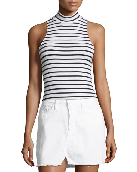 Striped Mock-Neck Tank Top, Blue/White