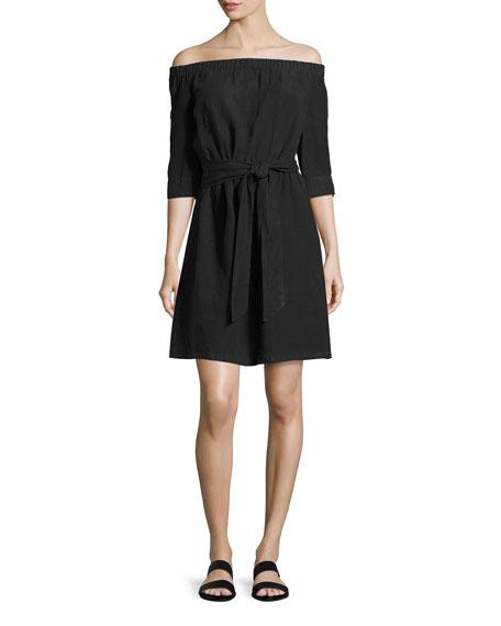 FRAME Off-the-Shoulder Linen Dress, Black