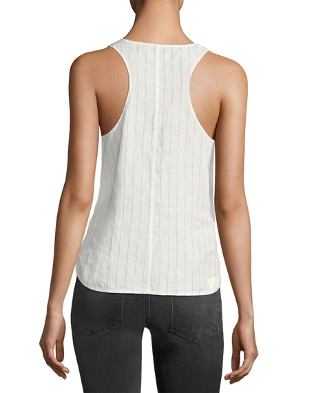 Racerback Striped-Linen Tank Top, White