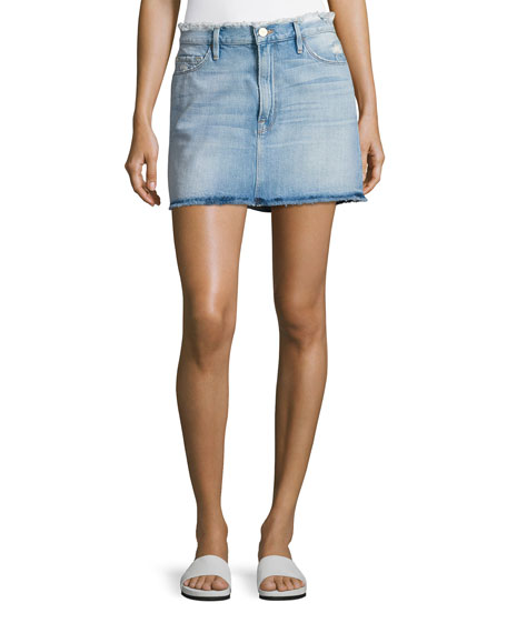 FRAME Le Mini Frayed Waist A-Line Denim Skirt,