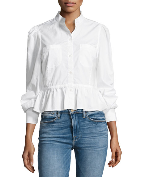 FRAME Double-Pocket Peplum Poplin Blouse, White and Matching