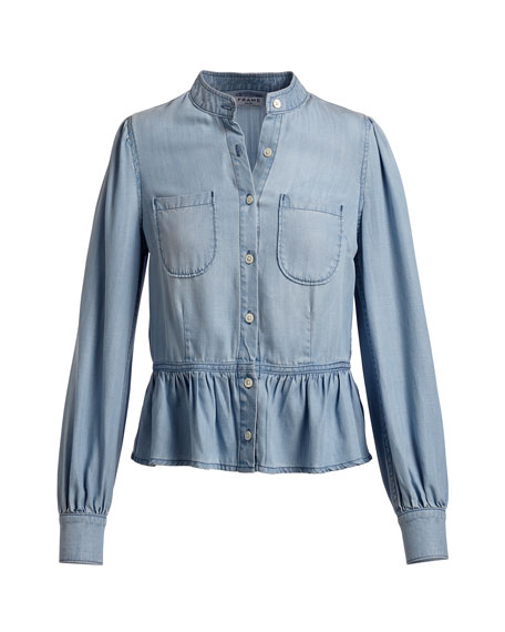 Double-Pocket Peplum Denim Blouse, Blue