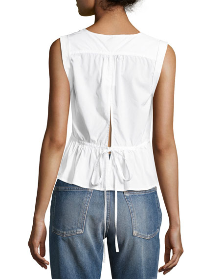 Sleeveless Tie-Back Peplum Blouse, White
