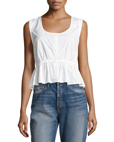 FRAME Sleeveless Tie-Back Peplum Blouse, White