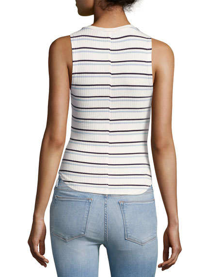 70's Double-Striped Fitted Tank, White