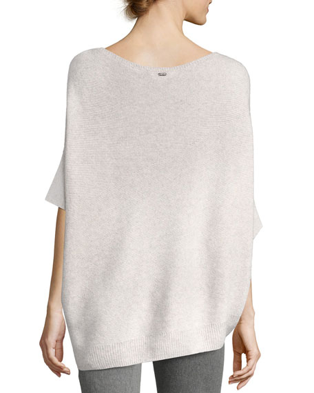 Reverse Jersey Cashmere Asymmetric Sweater, Pink/Gray