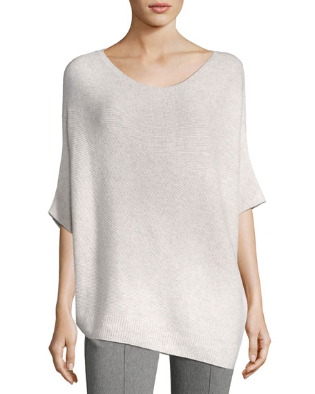 St. John Collection Reverse Jersey Cashmere Asymmetric Sweater,