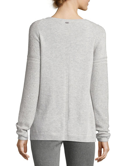 Reverse Jersey Micro Sequined Sweater, Light Gray
