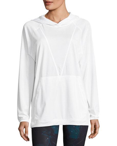 Alala Mesh Drawstring Hoodie Sweatshirt, White