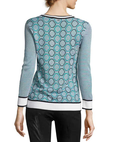 Geometric Jacquard Striped Sweater