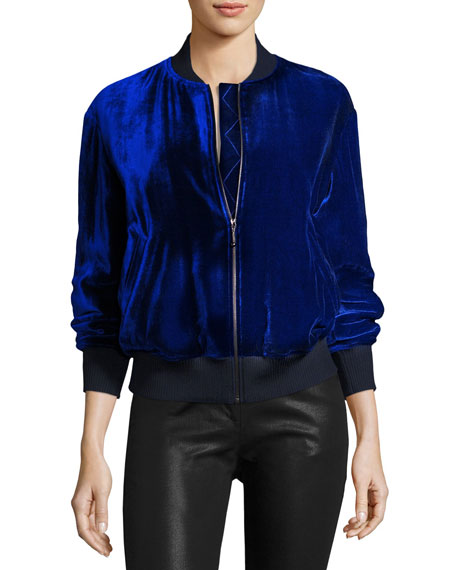 St. John Collection Velvet Bomber Jacket