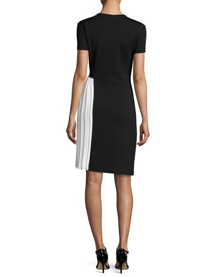 Short-Sleeve Milano Knit Sheath Dress W/ Pleated Inset