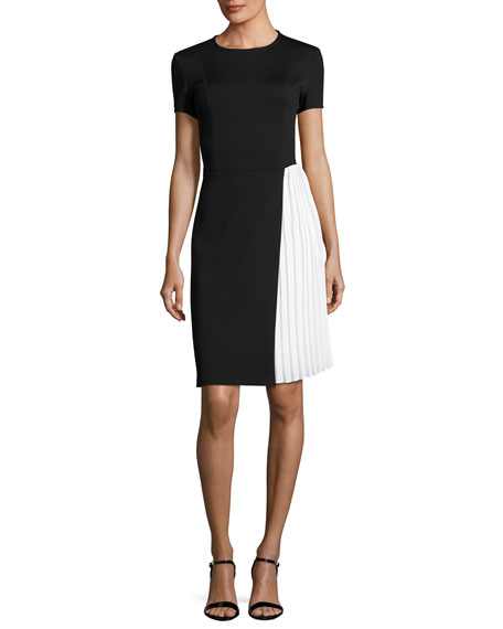 St. John Collection Short-Sleeve Milano Knit Sheath Dress