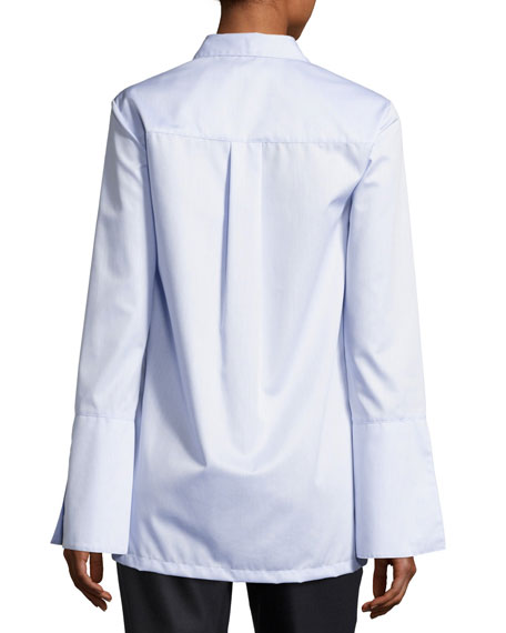 Oxford Bell-Sleeve Shirt, Light Blue