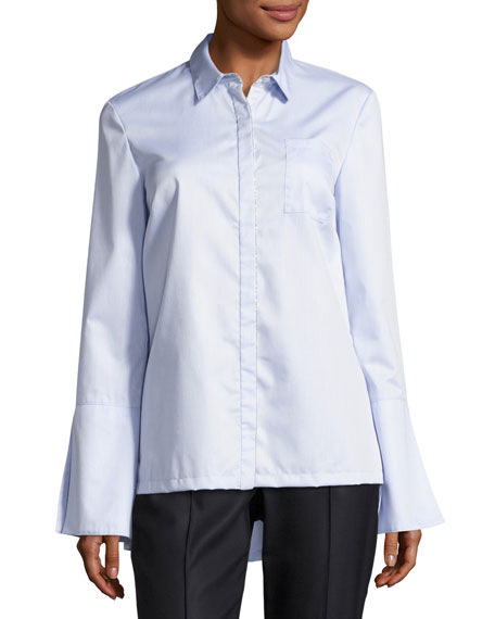 St. John Collection Oxford Bell-Sleeve Shirt, Light Blue