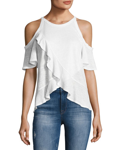 Anya Linen Cold-Shoulder Tee, White