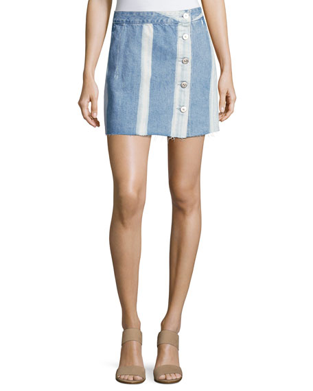 3x1 Higher Ground Pinto Stripe Denim Mini Skirt,
