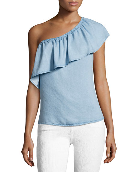 7 For All Mankind One-Shoulder Ruffled Denim Top,