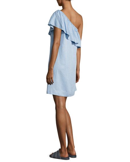 One-Shoulder Ruffled Denim Dress, Indigo