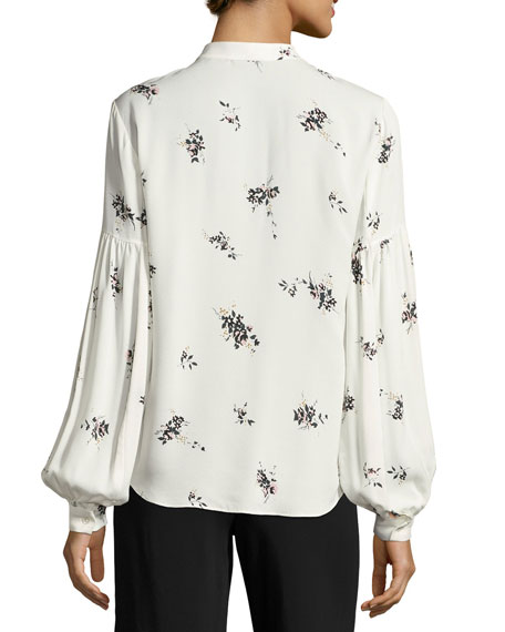 Ty Floral-Print Silk Top, White