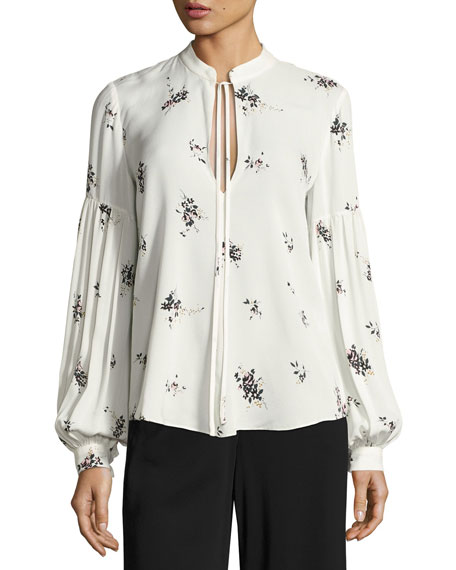 A.L.C. Ty Floral-Print Silk Top, White and Matching