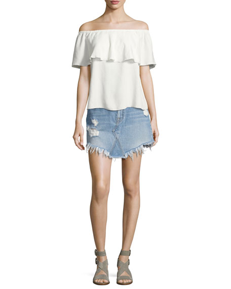 7 For All Mankind Distressed Mini Skirt W/ Scallop Raw-Hem, White