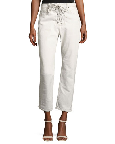 Yoko Lace-Front Denim Pants, White