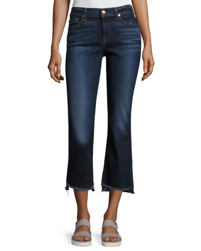 Cropped Boot Jeans W/ Step Hem, Indigo